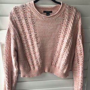 FOREVER 21 CABLE KNIT PINK SWEATER
